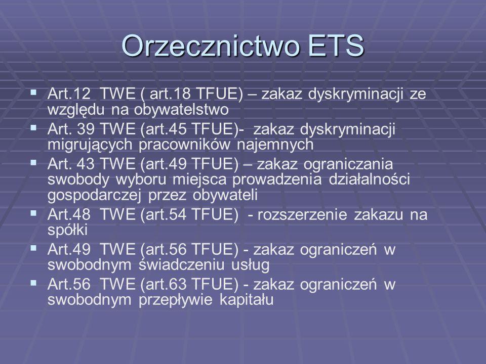 Orzecznictwo ETSArt.12 TWE ( art.18 TFUE) – zakaz dyskryminacji ze względu na obywatelstwo.
