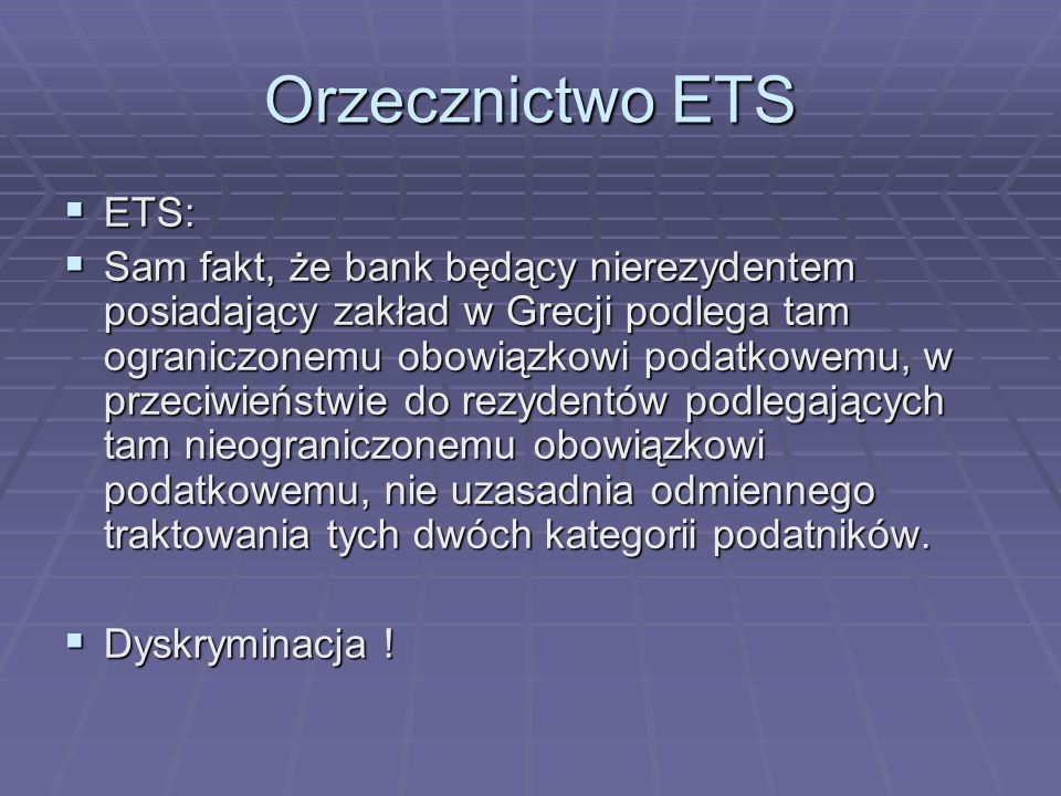 Orzecznictwo ETS ETS: