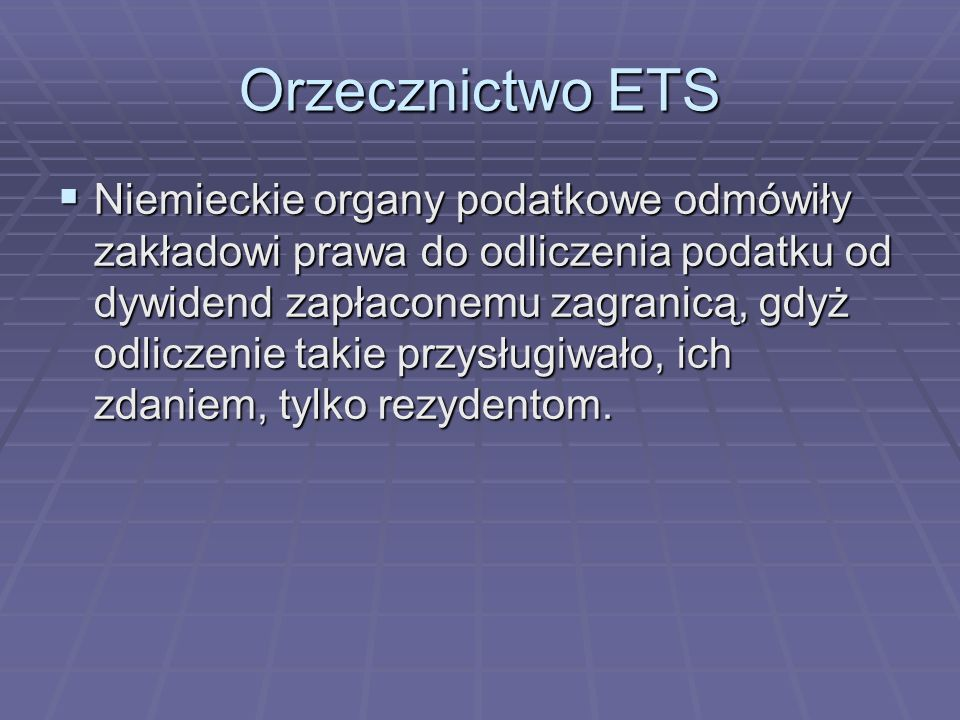 Orzecznictwo ETS