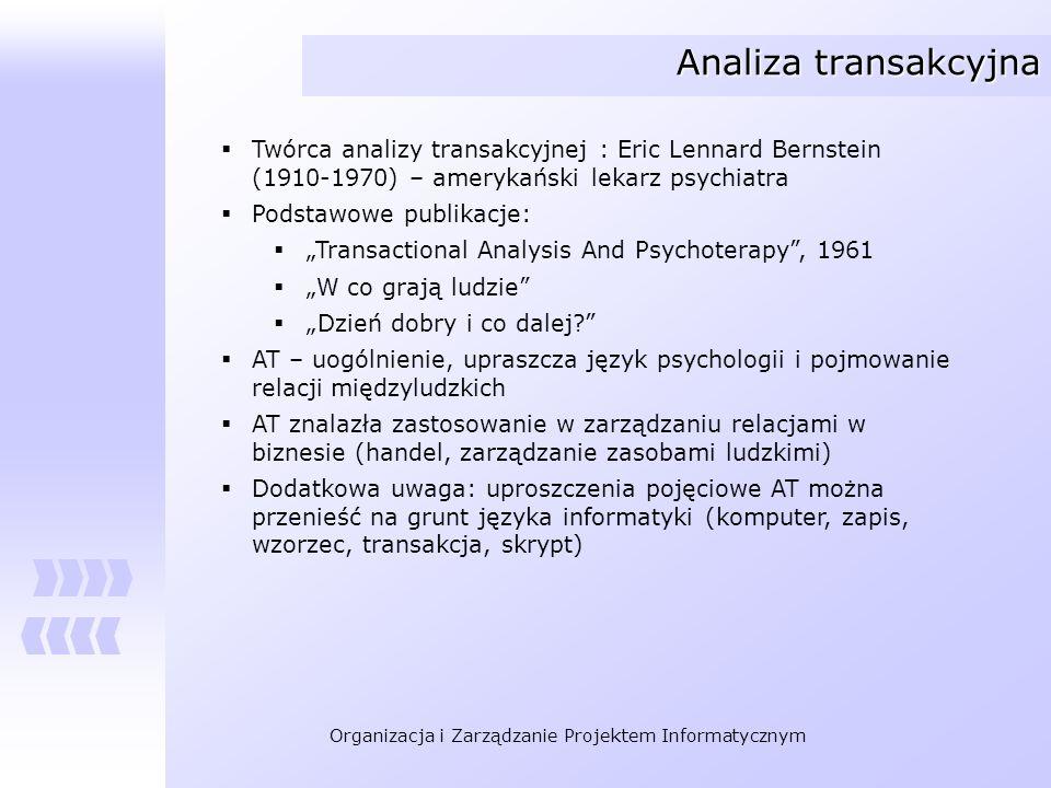 Analiza transakcyjna Twórca analizy transakcyjnej : Eric Lennard Bernstein (1910-1970) – amerykański lekarz psychiatra.