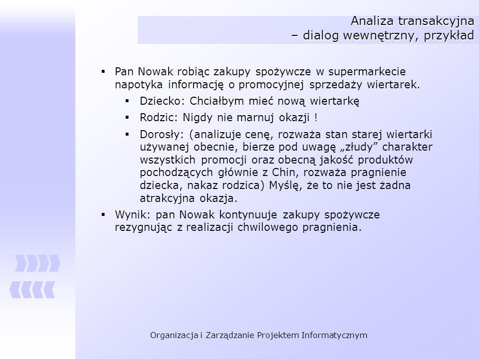 Analiza transakcyjna – dialog wewnętrzny, przykład