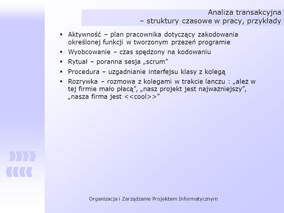 Analiza transakcyjna – struktury czasowe w pracy, przykłady