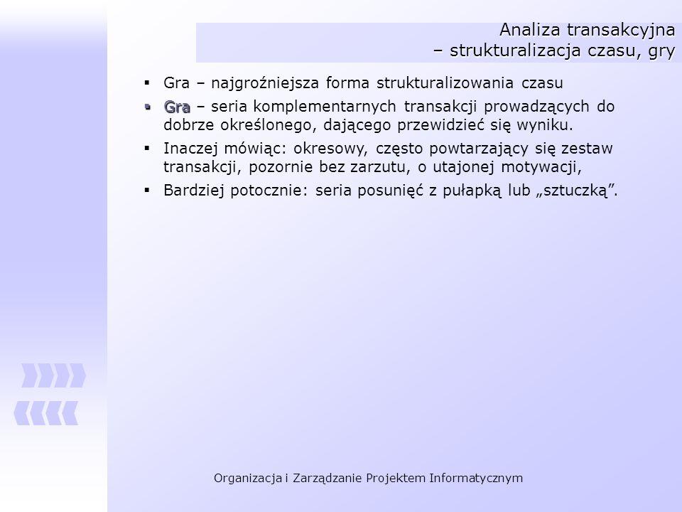 Analiza transakcyjna – strukturalizacja czasu, gry