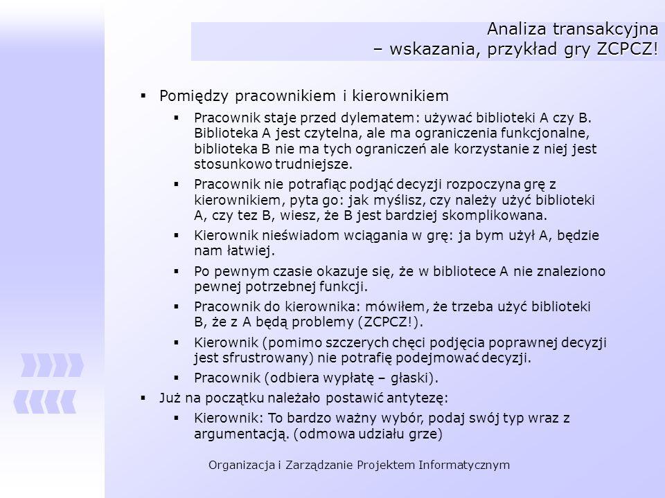 Analiza transakcyjna – wskazania, przykład gry ZCPCZ!