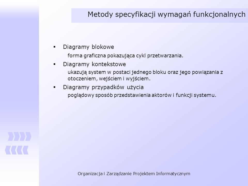 Metody specyfikacji wymagań funkcjonalnych