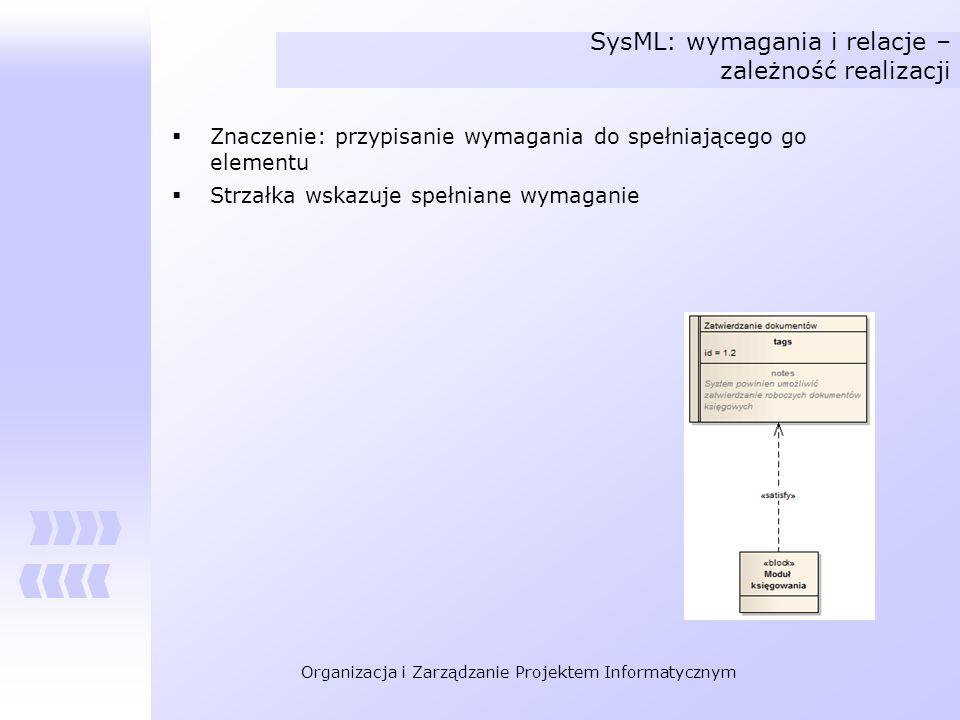 SysML: wymagania i relacje – zależność realizacji