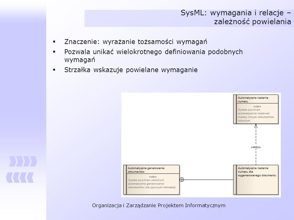 SysML: wymagania i relacje – zależność powielania