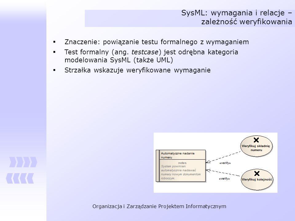 SysML: wymagania i relacje – zależność weryfikowania