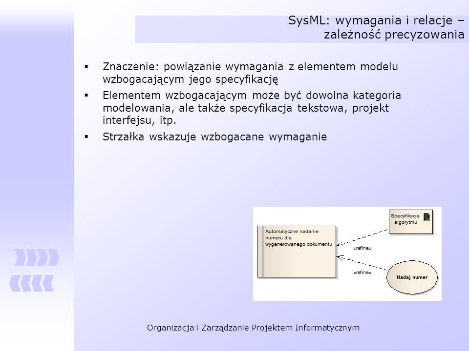 SysML: wymagania i relacje – zależność precyzowania