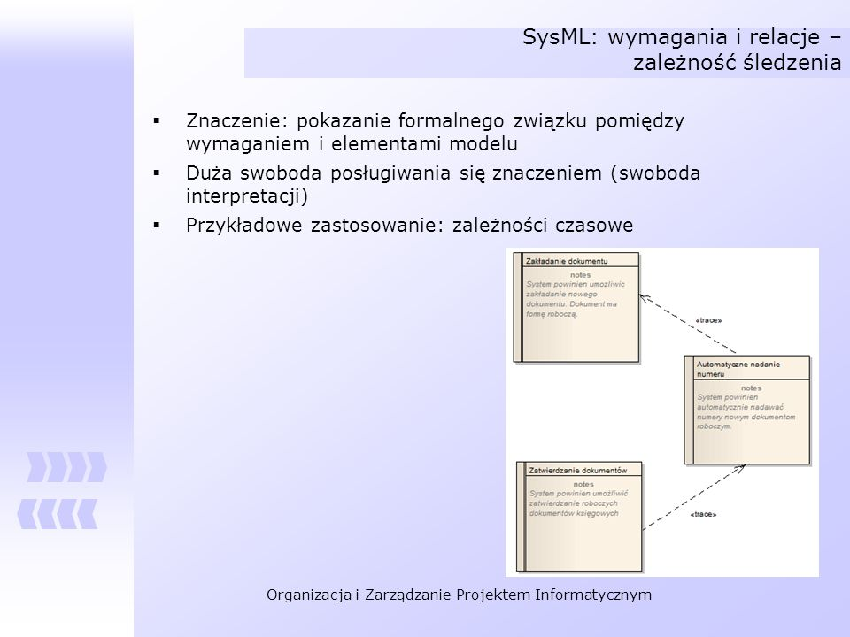 SysML: wymagania i relacje – zależność śledzenia