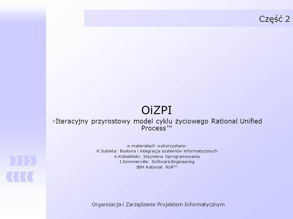Część 2 OiZPI. Iteracyjny przyrostowy model cyklu życiowego Rational Unified Process™ w materiałach wykorzystano: