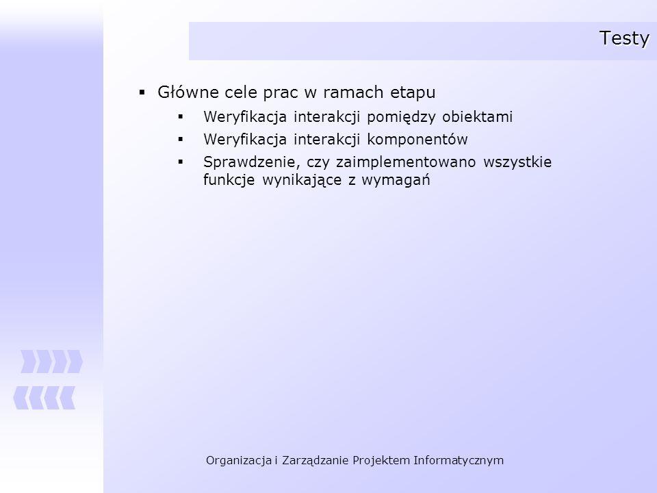Testy Główne cele prac w ramach etapu