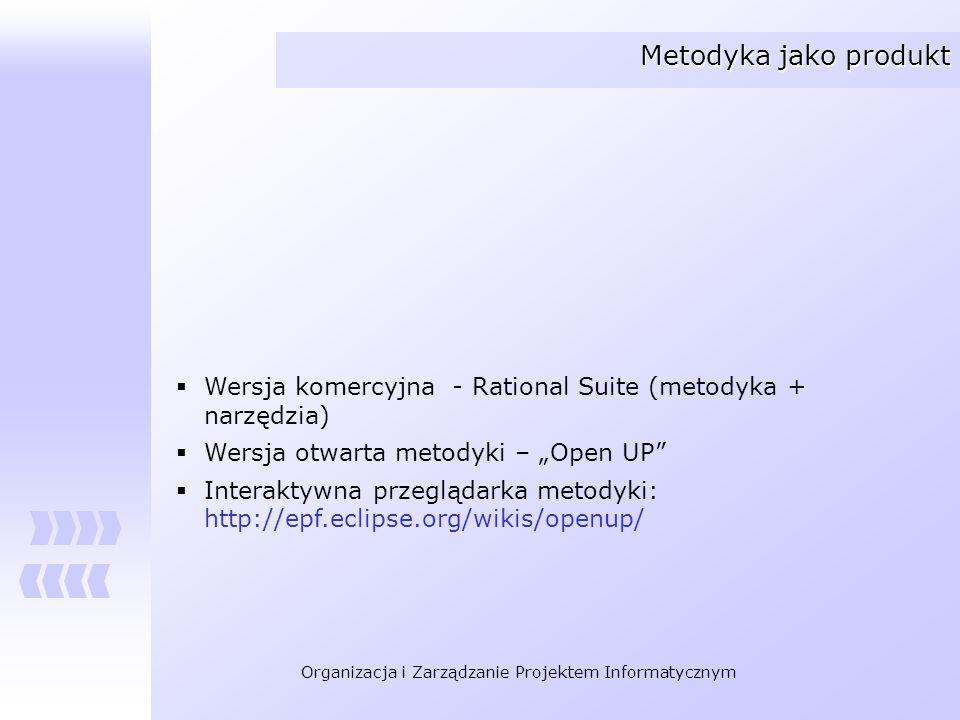 """Metodyka jako produkt Wersja komercyjna - Rational Suite (metodyka + narzędzia) Wersja otwarta metodyki – """"Open UP"""