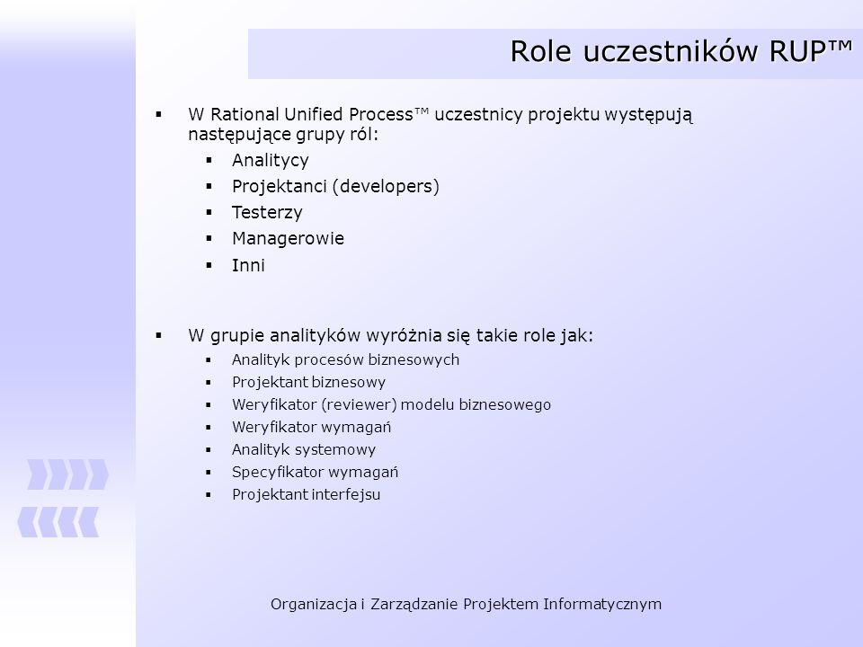 Role uczestników RUP™ W Rational Unified Process™ uczestnicy projektu występują następujące grupy ról: