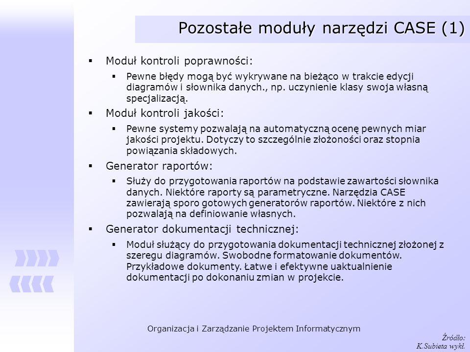 Pozostałe moduły narzędzi CASE (1)