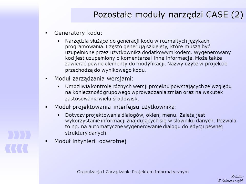 Pozostałe moduły narzędzi CASE (2)