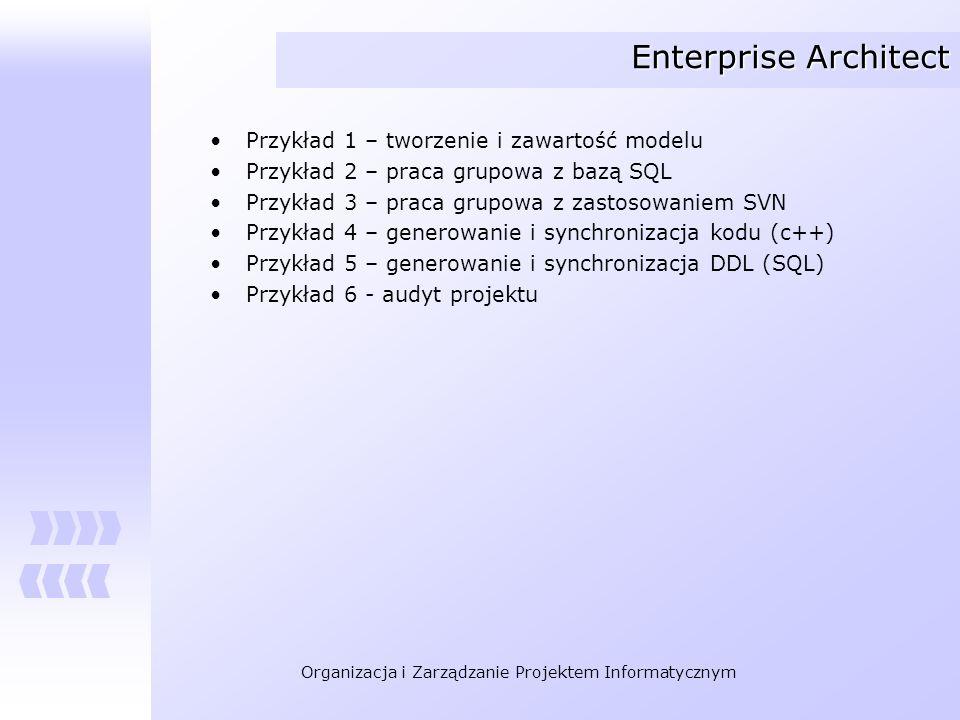 Enterprise Architect Przykład 1 – tworzenie i zawartość modelu