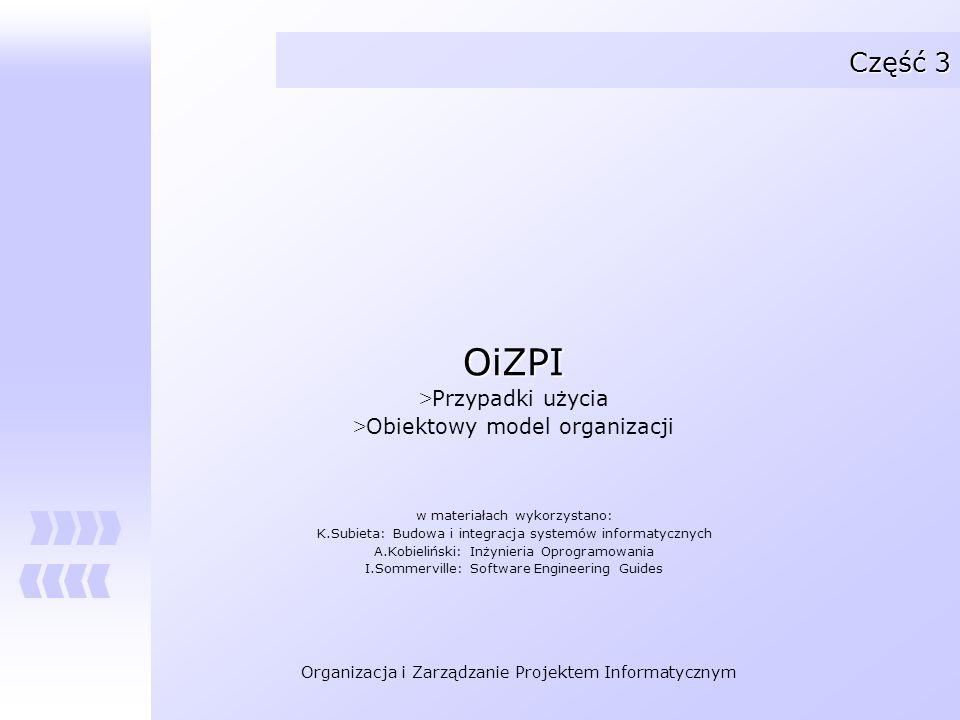 OiZPI Część 3 Przypadki użycia Obiektowy model organizacji