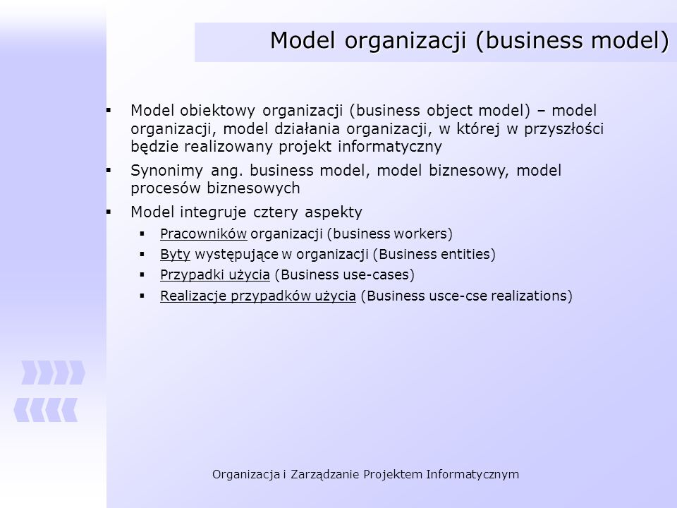 Model organizacji (business model)