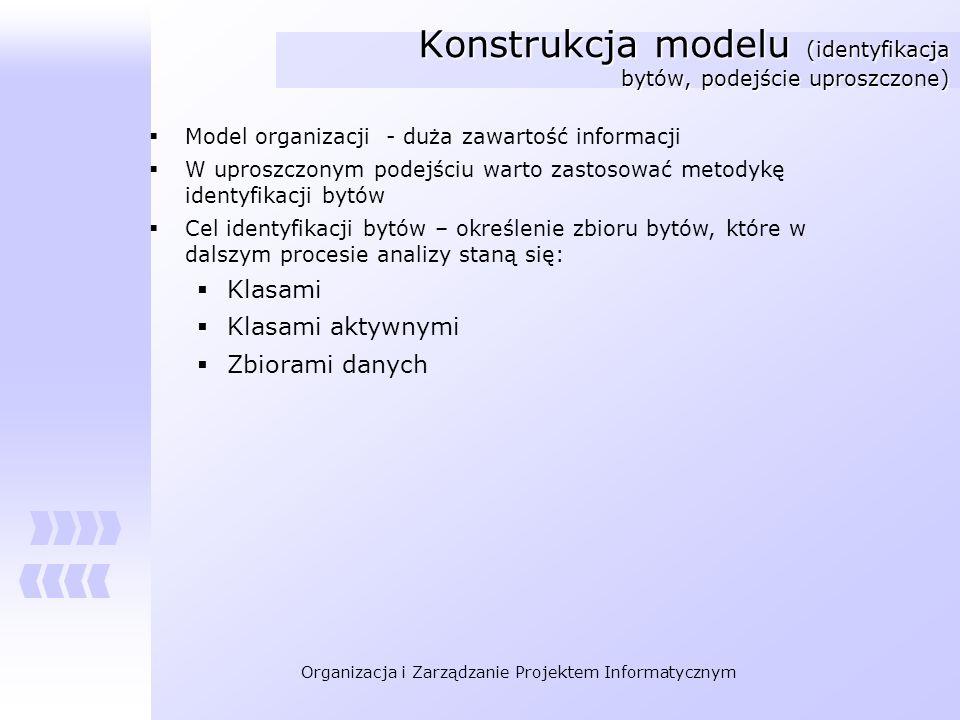 Konstrukcja modelu (identyfikacja bytów, podejście uproszczone)
