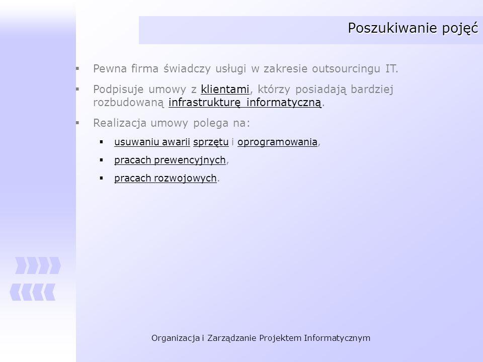 Poszukiwanie pojęć Pewna firma świadczy usługi w zakresie outsourcingu IT.