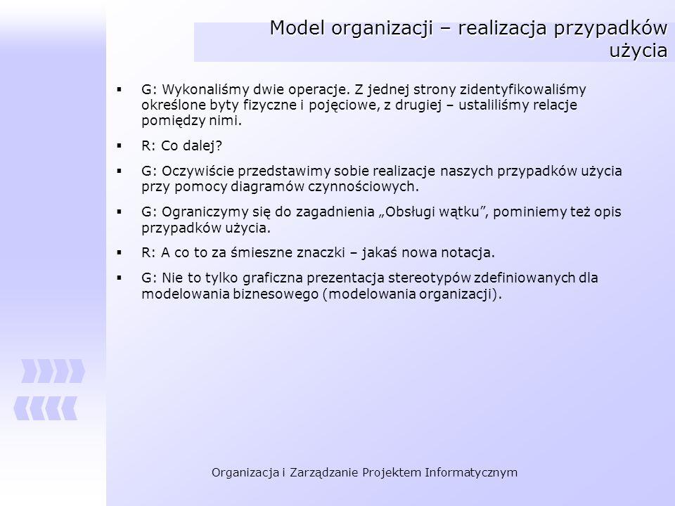 Model organizacji – realizacja przypadków użycia