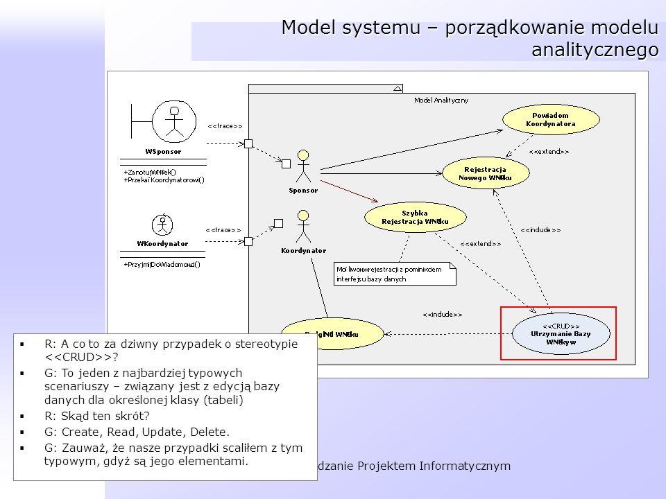 Model systemu – porządkowanie modelu analitycznego