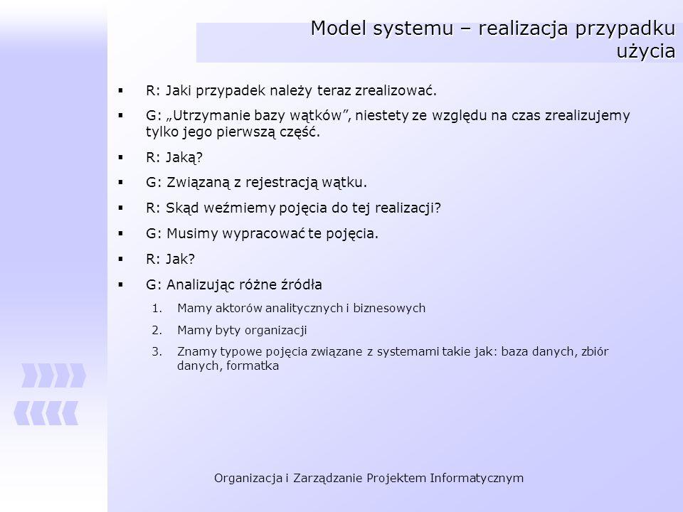 Model systemu – realizacja przypadku użycia