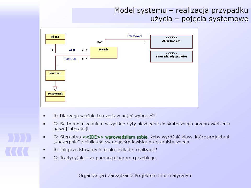 Model systemu – realizacja przypadku użycia – pojęcia systemowe