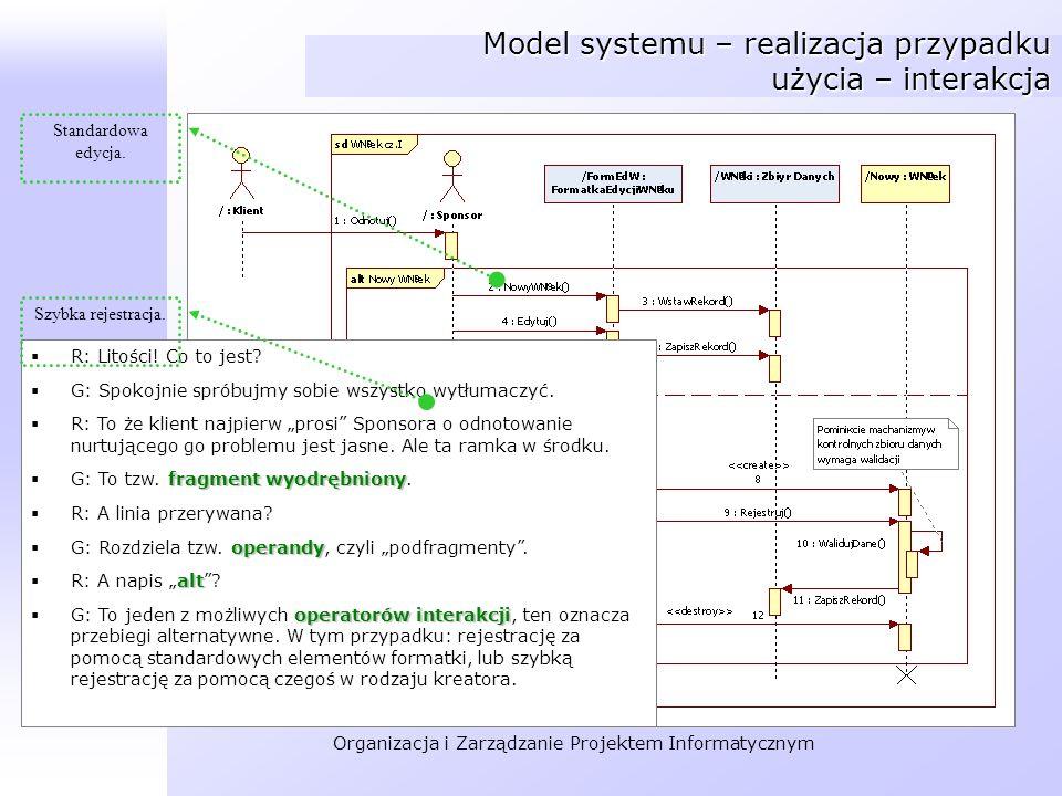 Model systemu – realizacja przypadku użycia – interakcja