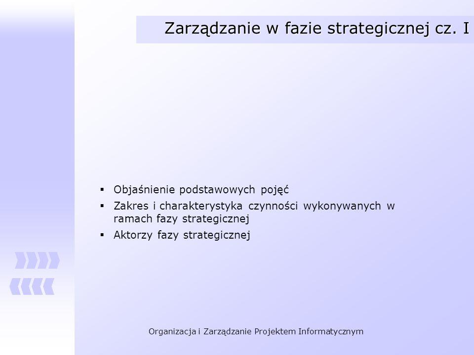 Zarządzanie w fazie strategicznej cz. I