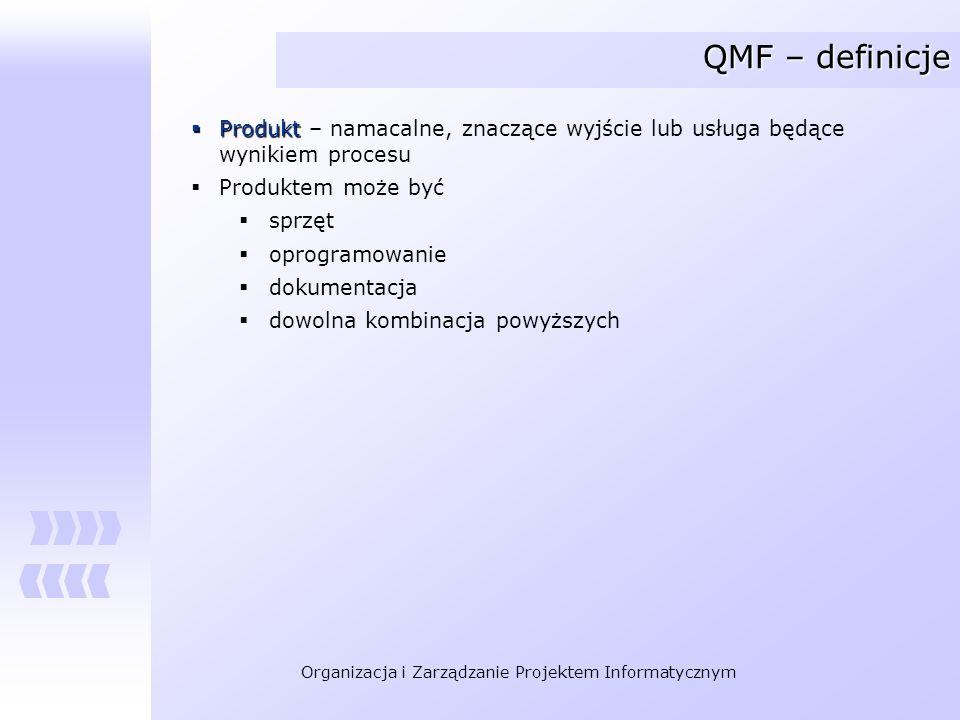 QMF – definicje Produkt – namacalne, znaczące wyjście lub usługa będące wynikiem procesu. Produktem może być.