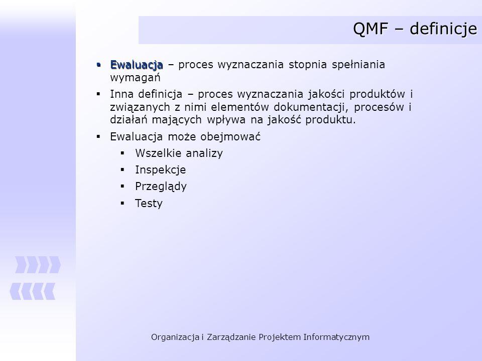 QMF – definicje Ewaluacja – proces wyznaczania stopnia spełniania wymagań.