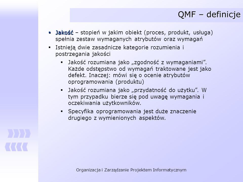 QMF – definicje Jakość – stopień w jakim obiekt (proces, produkt, usługa) spełnia zestaw wymaganych atrybutów oraz wymagań.