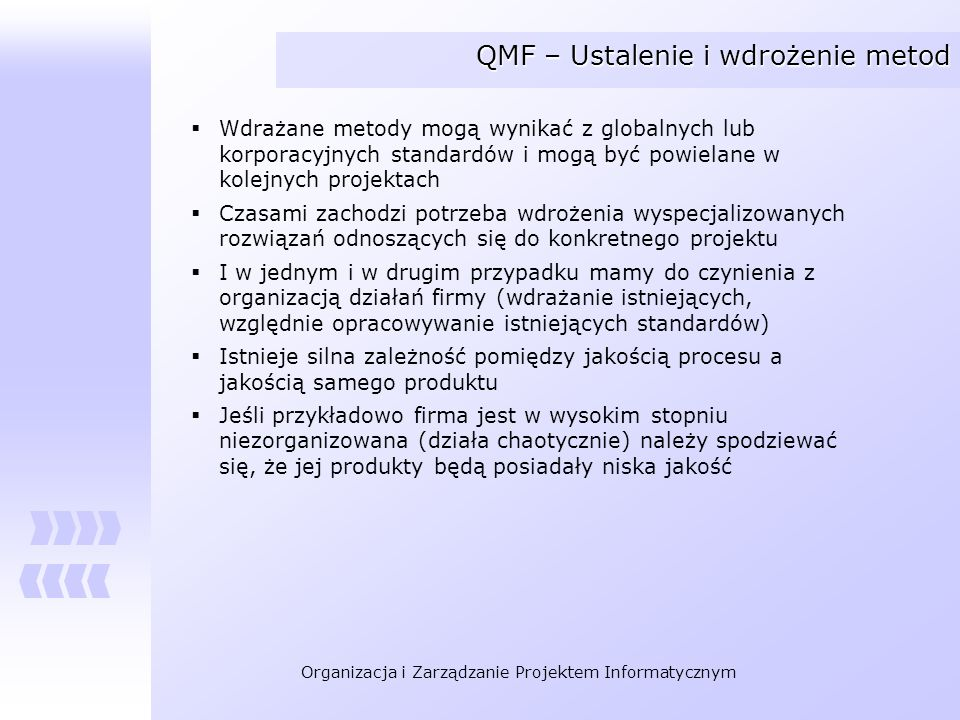QMF – Ustalenie i wdrożenie metod