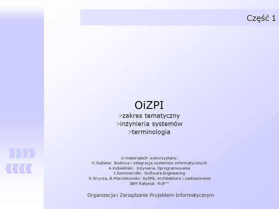 OiZPI Część 1 zakres tematyczny inżynieria systemów terminologia