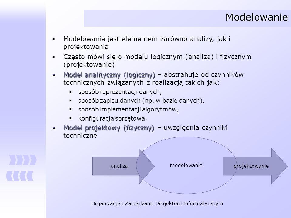ModelowanieModelowanie jest elementem zarówno analizy, jak i projektowania. Często mówi się o modelu logicznym (analiza) i fizycznym (projektowanie)