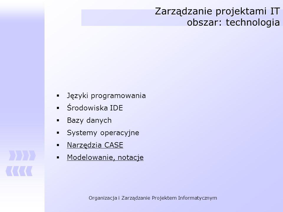 Zarządzanie projektami IT obszar: technologia