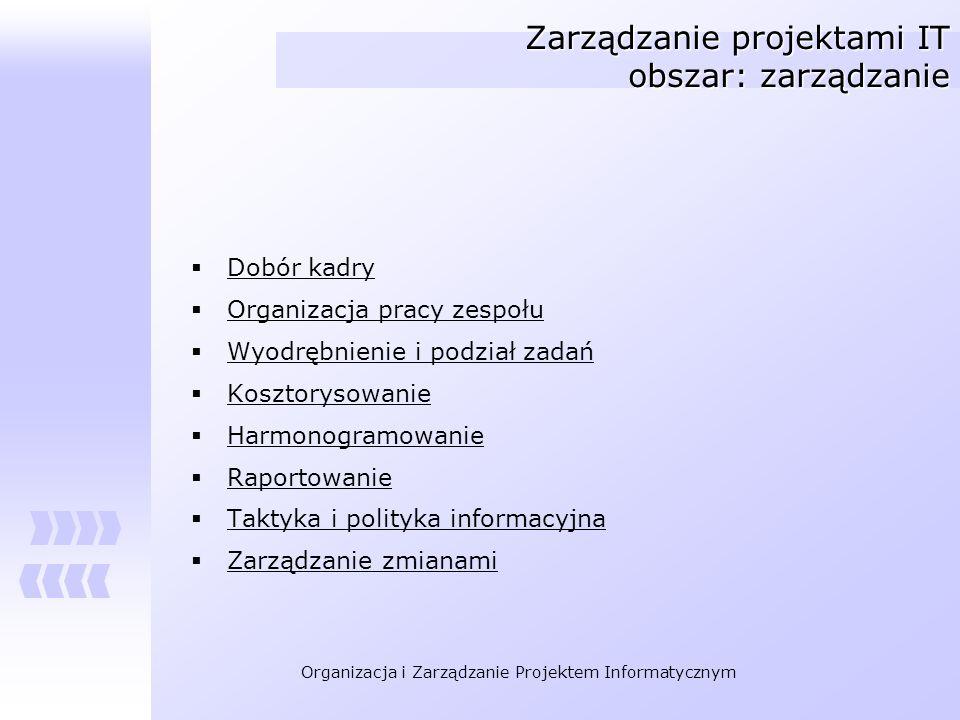 Zarządzanie projektami IT obszar: zarządzanie