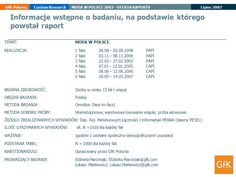 Informacje wstępne o badaniu, na podstawie którego powstał raport