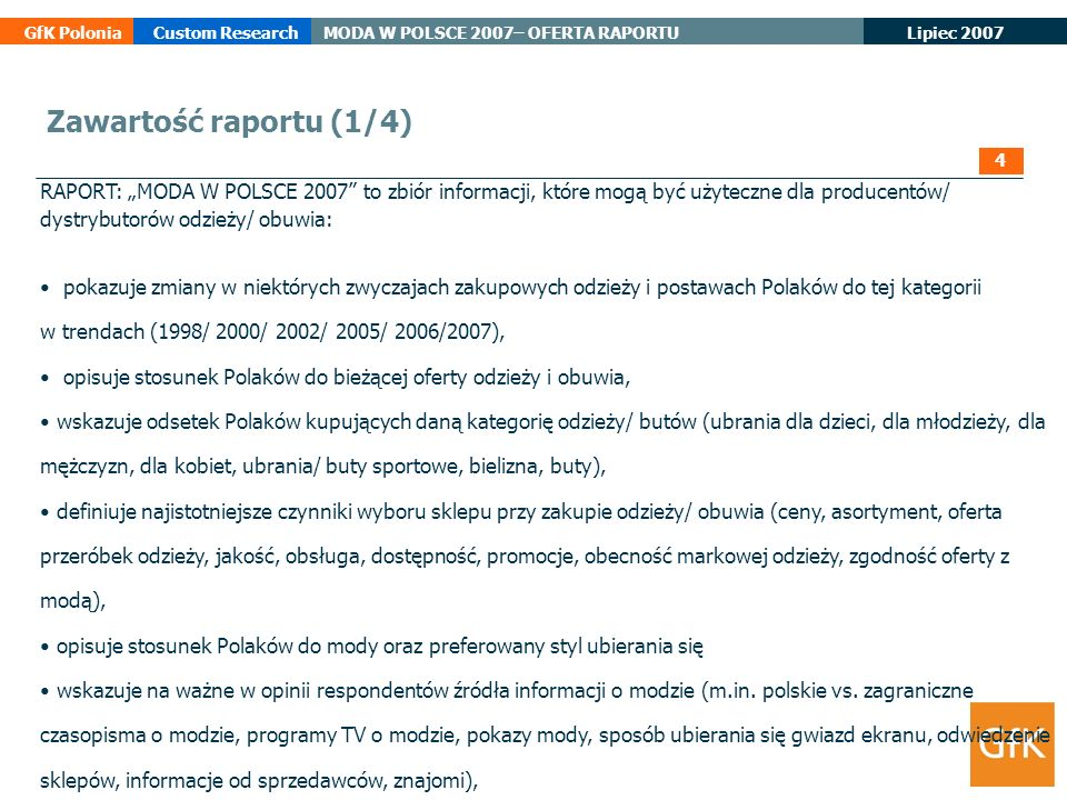 Zawartość raportu (1/4) 4.