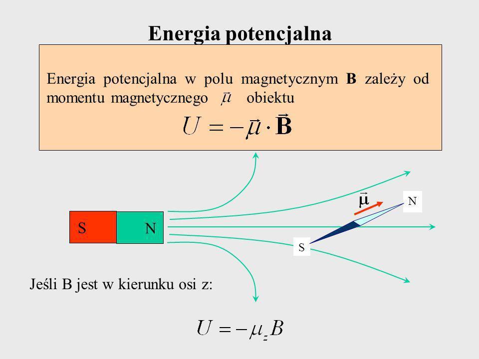 Energia potencjalna Energia potencjalna w polu magnetycznym B zależy od momentu magnetycznego obiektu.
