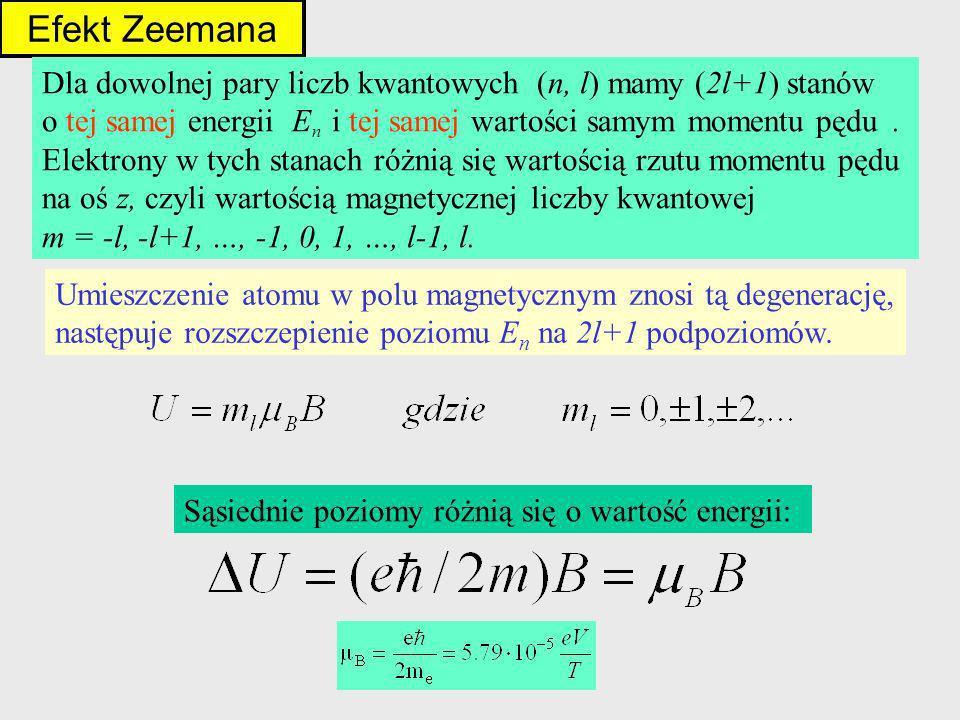 Efekt Zeemana Dla dowolnej pary liczb kwantowych (n, l) mamy (2l+1) stanów. o tej samej energii En i tej samej wartości samym momentu pędu .