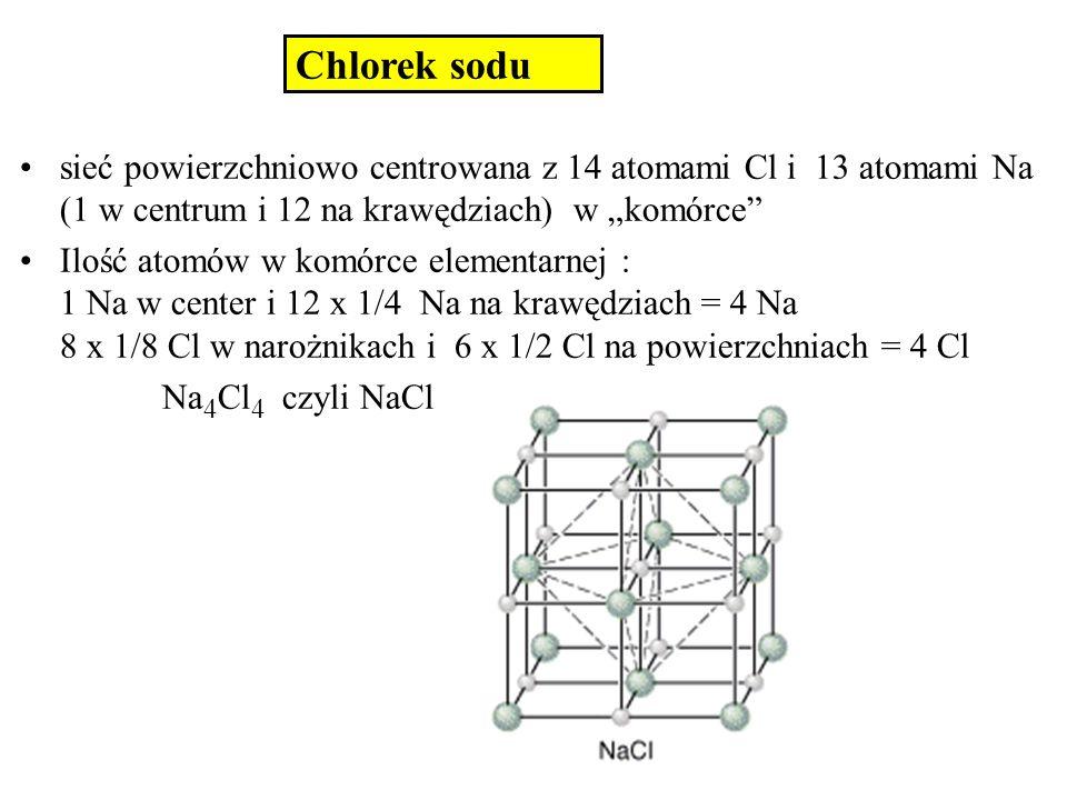 """Chlorek sodusieć powierzchniowo centrowana z 14 atomami Cl i 13 atomami Na (1 w centrum i 12 na krawędziach) w """"komórce"""