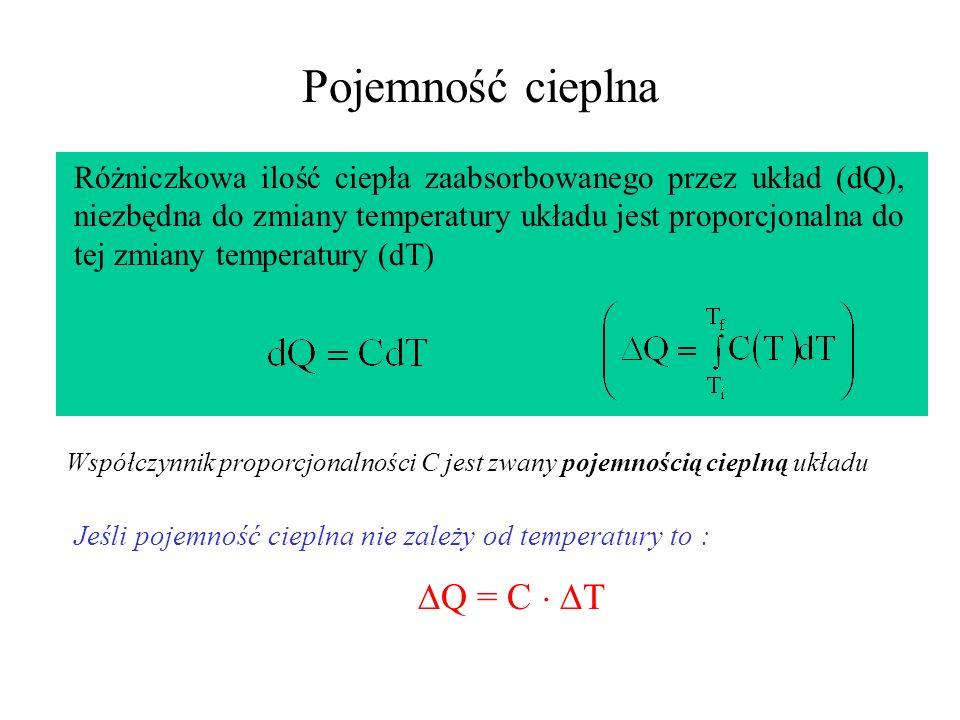 Pojemność cieplna Q = C  T