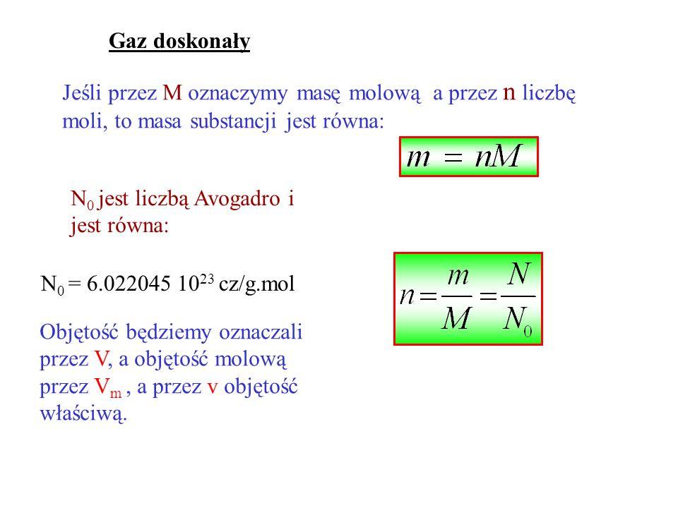 Gaz doskonały Jeśli przez M oznaczymy masę molową a przez n liczbę moli, to masa substancji jest równa: