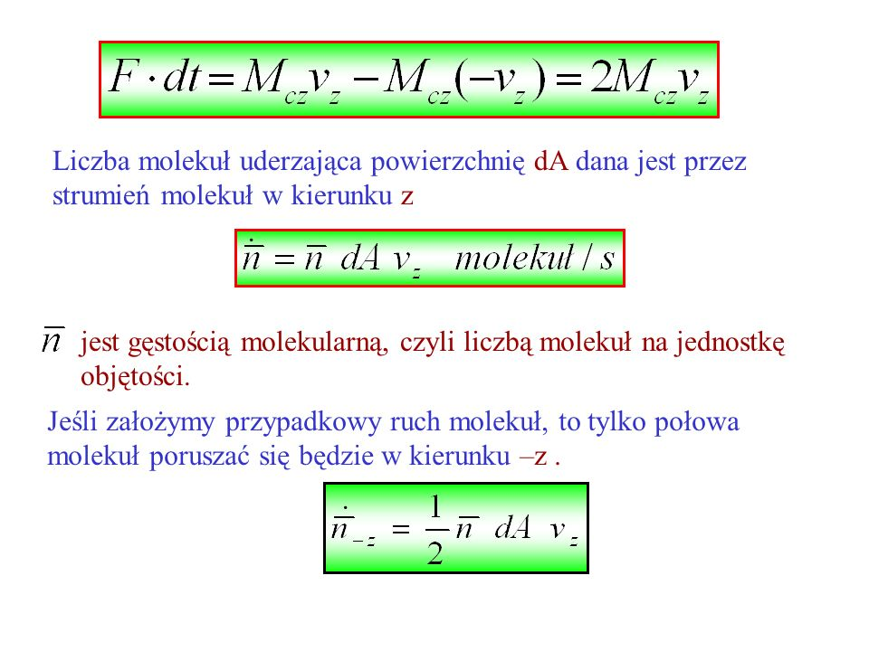 Liczba molekuł uderzająca powierzchnię dA dana jest przez strumień molekuł w kierunku z