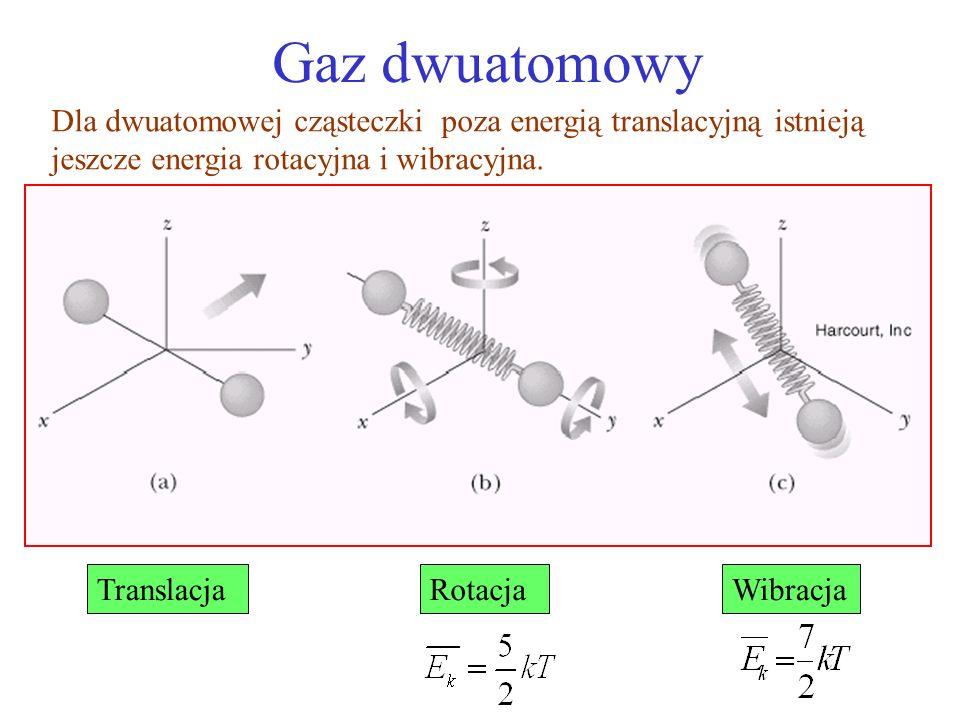 Gaz dwuatomowy Dla dwuatomowej cząsteczki poza energią translacyjną istnieją jeszcze energia rotacyjna i wibracyjna.