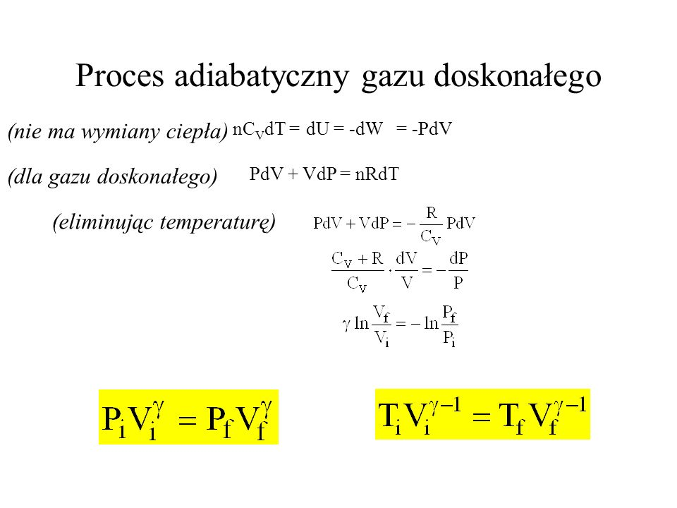 Proces adiabatyczny gazu doskonałego