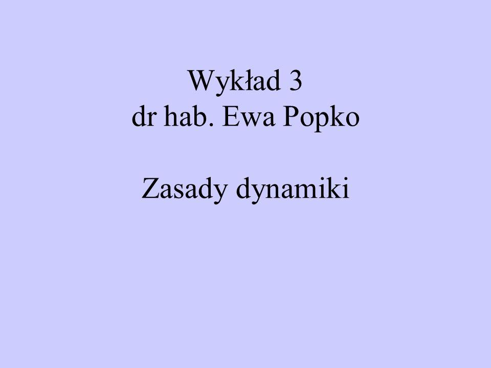 Wykład 3 dr hab. Ewa Popko Zasady dynamiki